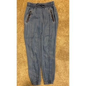 Bebe denim joggers 26 w/adjustable cords +2pockets